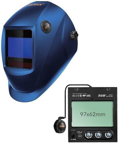 Сварочная маска с автоматическим светофильтром Tecmen ADF - 815S TM16 синяя (внешн. кнопка зачистки) - фото 21610